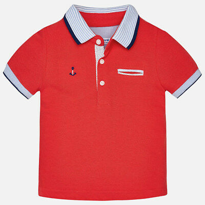 Mayoral Infant Boys Short Sleeved Polo Shirt In Granadine (1138) aged 18-36 mnth