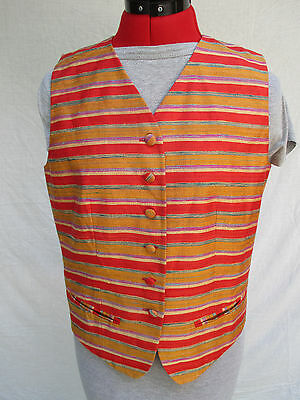 Ann May Silk Vest Size 8 Stripes Gold Red Bright Button Up Lined Pockets