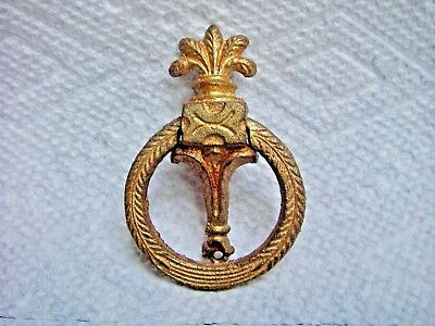 Antique Ornate Gold Tone Brass Drawer Ring Pull Handle Hardware