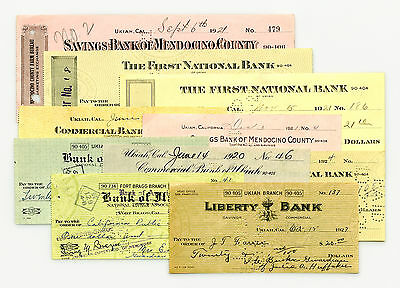 10 diff. California USA bank checks early 1900's nice used