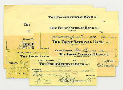 10 mixed Nevada USA bank checks early 1900's nice used