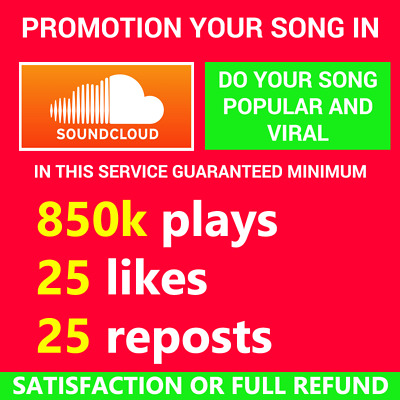 Soundcloud Song Promotion Plays Likes Reposts Comments High Quality 100% Safe