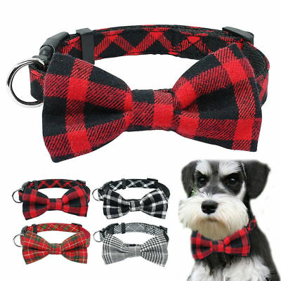 Soft Cotton Grid Dog Collars Bowknot Necktie for Pet Puppy Chihuahua Yorkie S M