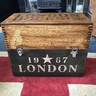 London Docks Ltd 1967 Chest Trunk Storage Box with Bee & Crown FREE UK DELIVERY