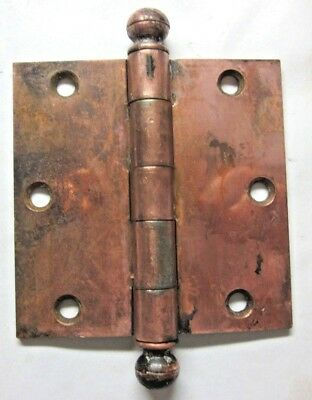 "1 GM.Co. Antique Square 3-1/2"" Copper Plated Mortise Door Hinge Ball Tip Finial"