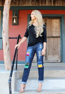 L&B Distressed Relaxed Fit BOYFRIEND Jeans with Serape Patches and Cuffed Hem