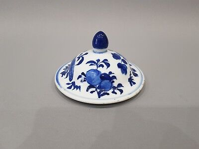 Large Chinese 19Th C Porcelain Blue & White Jar / Vase Lid / Cover