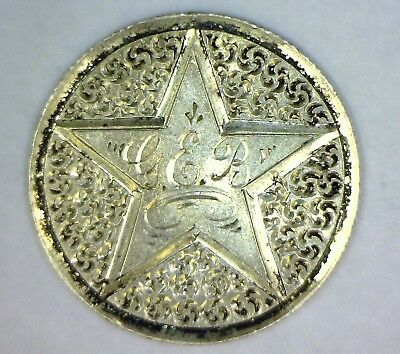 LOVE TOKEN: 'STAR with G.E.B.' in CENTER with ROSETTES IN FIELD: 1890 DIME: NR!