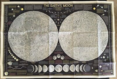 Vintage 1969 Earth's Moon Map Insert Supplement from National Geographic.
