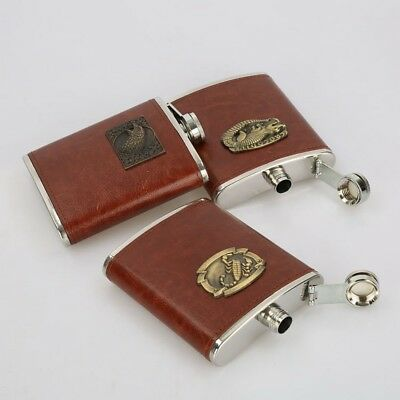 8oz Retro Pocket Leather Stainless Steel Liquor Whiskey Hip Flasks Wine Bottle
