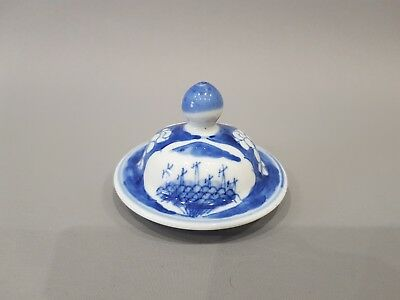 Good Chinese 19Th C Porcelain Blue & White Jar / Vase Lid / Cover