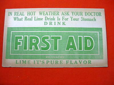 First Aid Lime Soda Store Sign 1920