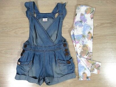 Next Direct Girls Denim Dungarees Romper and Leggings Age 3-4 Size 4