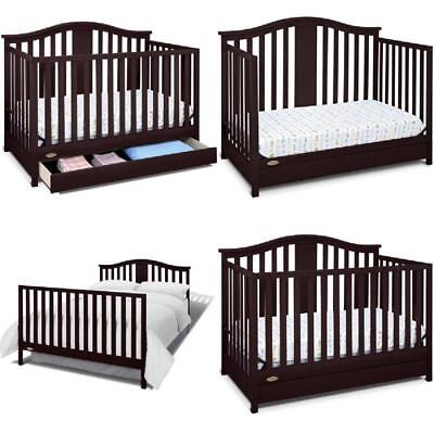 Convertible Crib 4 in 1 Espresso w/Drawer Toddler Bed Daybed Nursery Furniture