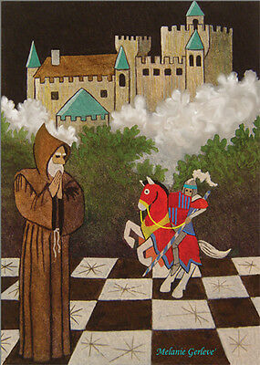ACEO hand signed by Melanie Gerleve Chess Players Castle Bishop Knight