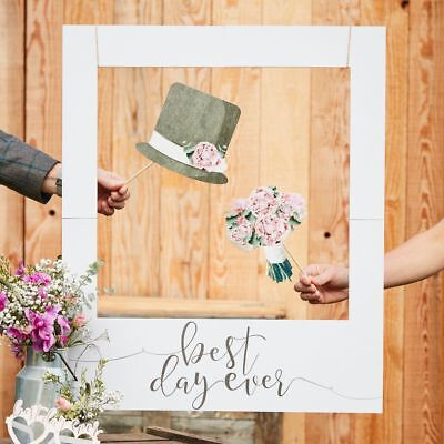 Best Day Ever Giant Polaroid Photo Booth Props Frame Rustic Country Wedding Sign