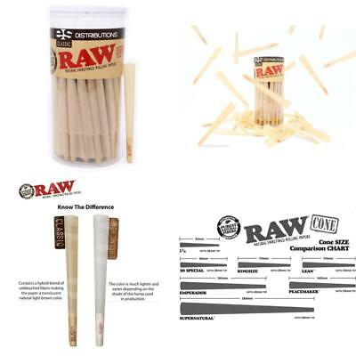 RAW Classic King Size Pure Hemp Pre-Rolled Cones With Filter 100 Pack Papers