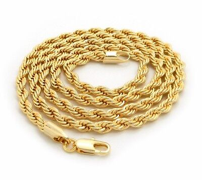 """Mens 14K Yellow Gold Plated Rope Chain Necklace 2.5mm 3mm 4mm 18"""" 20"""" 24"""" 30"""""""
