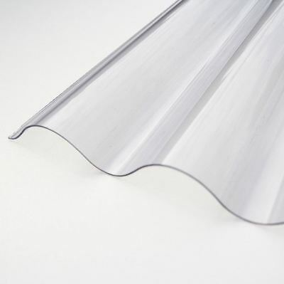 Plastic Corrugate Roofing Sheet Clear 0.8mm Lightweight 3inch Profile