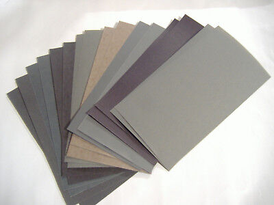 "16PC 3"" x 5.5"" WET DRY SANDPAPER 240 400 600 800 1000 1200 1500 2000 GRIT"