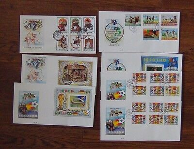Lesotho 7 x FDC 1981 Xmas 1982 Scouts World Cup sets and Miniature sheets FDC