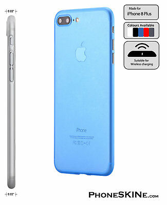 """iPhone 8 Plus BLUE Apple PhoneSKINe iPhone Case 0.02"""" Ultra thin perfect fit 8+"""