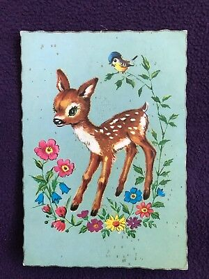 1969 POSTCARD - Art Illustration Of Young Deer (Like Bambi ?) And Bluebird