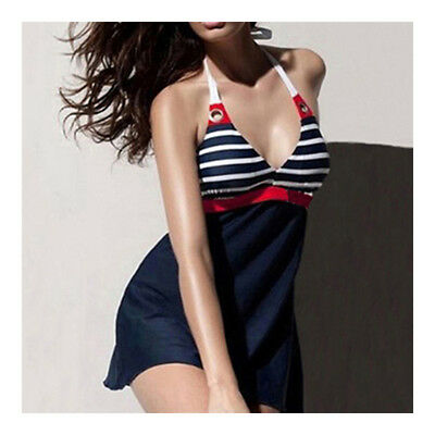 Navy Style Monokini One-piece Swimwear Swimsuit Striated Women Swimwear Swimsuit
