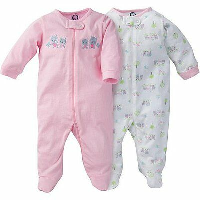 Gerber Baby Girl 2 Pack Zip Up Sleep N' Play Footies