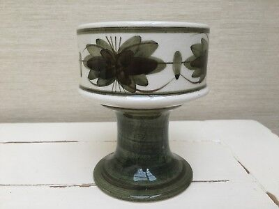 Vintage Jersey pottery 1960s/70s goblet vase in green and white