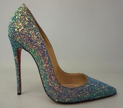 36c8750e7e0 CHRISTIAN LOUBOUTIN SO Kate Dragonfly 120 mm Glittered Leather Pumps Size  37 / 7