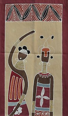 Zambia African Lady & Warrior Hand Painted Textile Wall Hanging Fair Trade