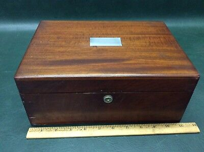 Antique Mahogany Wood Humidor Cigar w/ Sterling Silver Plaque