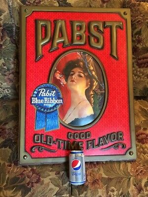 "Pabst Blue Ribbon Beer 3D Sign-Victorian Woman-21"" x 28""-PBR-Vintage Advertising"