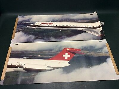 Vtg 1981 SWISSAIR 2 Connecting Posters McDonnell Douglas DC-9-81 Lockheed Orion