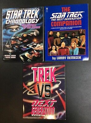 Star Trek Vs Next Generation Companion Chronology Picard Data Worf Book Lot