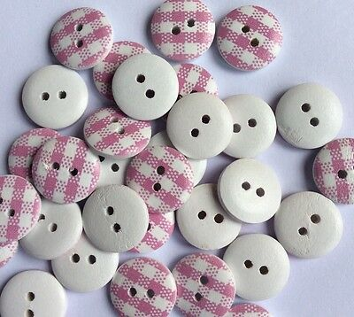 20 Pink/White Check 15mm Wooden Buttons, Aussie seller, free postage