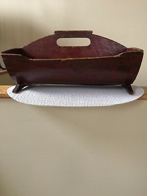 Antq. Except. Rare Early Pa. Handmolded Cutlery Carrier Tray In Orig Red Paint