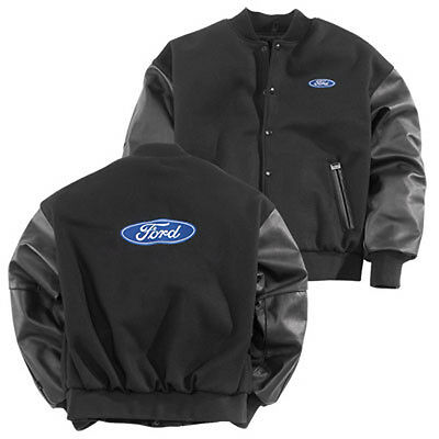 Brand New Men's Ford Blue Oval Size Medium Varsity Wool Jacket Leather Sleeves!