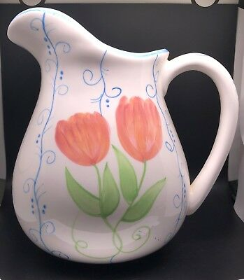 Dolomite Pitcher Ceramic Floral White