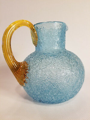 Victorian Art Glass Blue Overshot Pitcher with Reeded handle