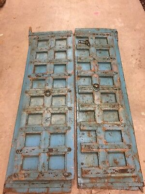 Blue Distressed Antique Iron Nailed Hand Carved Doors Teak Wood Double Door