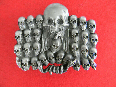 SKULL BELT BUCKLE pewter 28 skulls, snakes, wings 1990 AMERICAN MADE