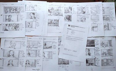 Set Of Production Used Copy Storyboards & 2 Script Page Storyboard Art Peter Pan