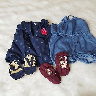 Lot Baby Girl Sz 3-9M Baby Gap mary janes Ballerina old navy Shoes Carter Romper