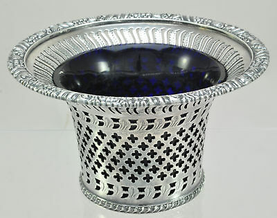 Barker Bros Pierced Flared Silverplate Bowl with Cobalt Glass Liner