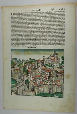 Hartmann Schedel 1493 German Nuremberg Chronical Incunabula Color Leaf Ravenna