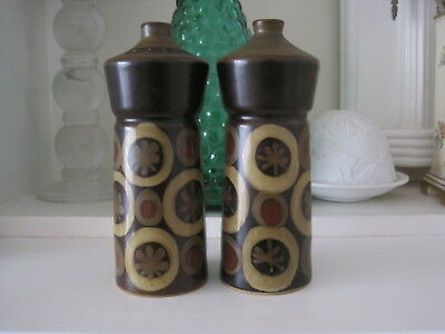 Retro Pair Of Tall Denby Arabesque Salt And Pepper Shakers