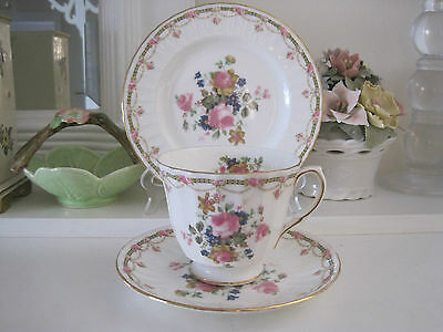 Gorgeous Duchess Pink Rosebuds Pink Bone China Trio