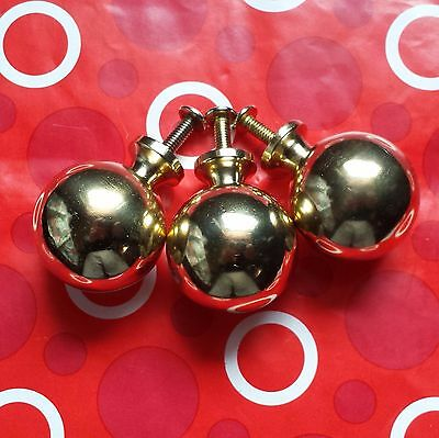 """(3) Solid Brass Polished Ball Lamp/bed/wood Finials 1-1/4""""  X 1-1/2""""  With Bolt"""